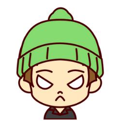 緑の帽子の子が怒っている