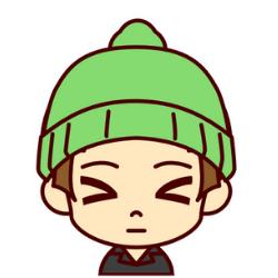 緑の帽子の子がびっくりしているイラスト