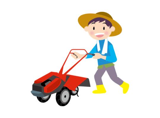 耕運機と男性のイラスト