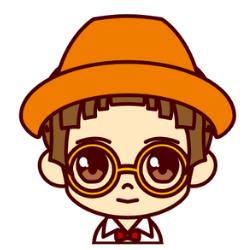 オレンジの帽子のすました顔の子