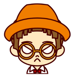 オレンジの帽子の子が怒っている