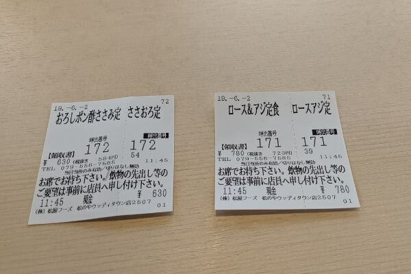 食券の写真