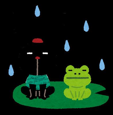 雨とカエルのイラスト