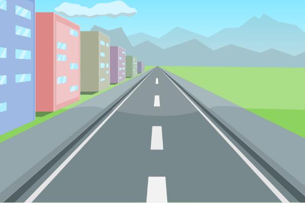 白色の点線道路のイラスト