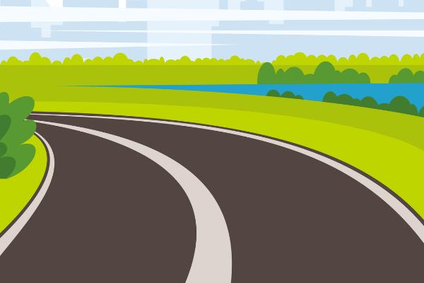 白線の道路のイラスト
