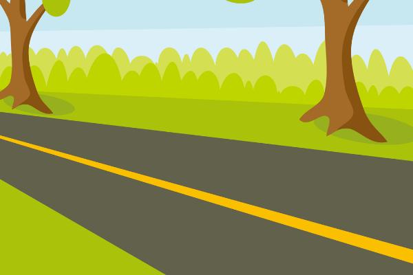 黄色実線道路のイラスト