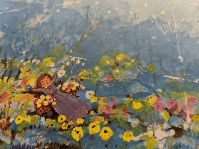 花と少女のイラスト