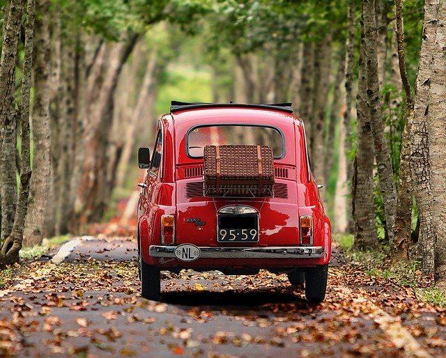 赤い自動車が山道を走る写真